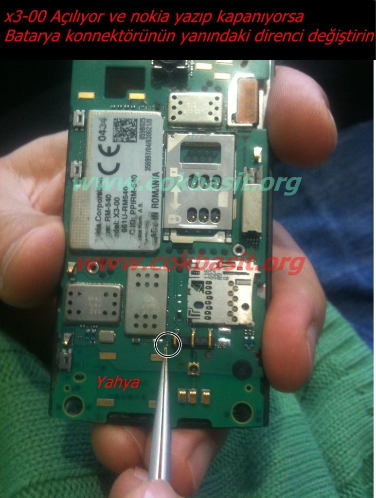 Nokia x3-00 nokia yazıp kapanıyor solüsyonu