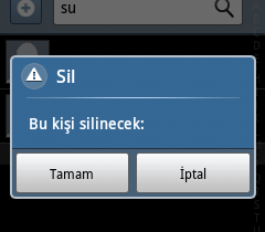 Android telefonda rehberden birini silme