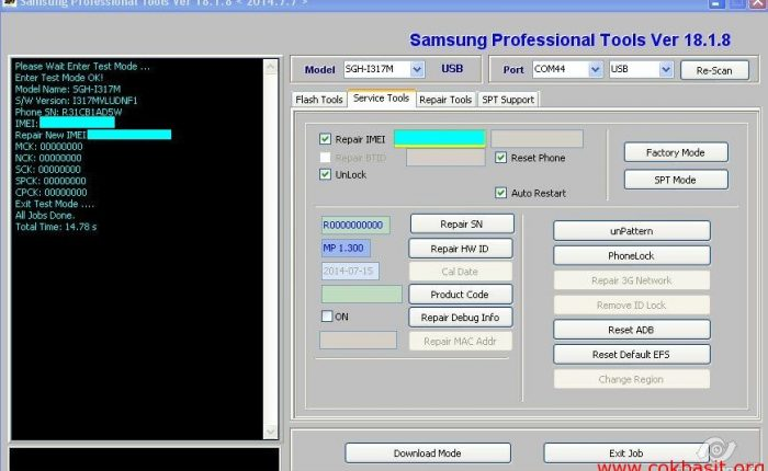 Samsung SGH-1317M note2 imei repair & unlock 4.4.2 spt box