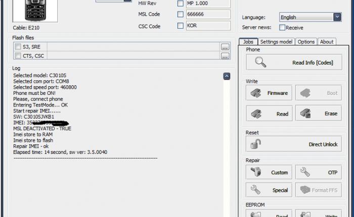 Samsung C3010s imei repair Z3x box